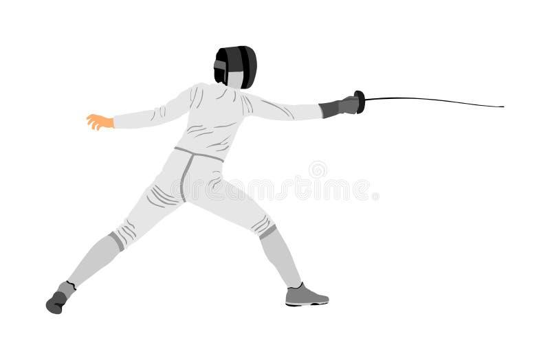 Illustration för fäktningspelarestående Svärdstridighet stock illustrationer