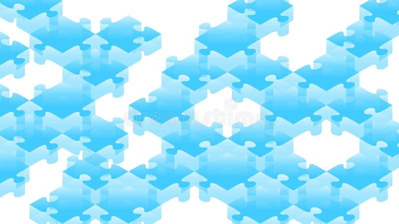 Illustration för färg för pusselstordia 3D isometrisk faktisk blå stock illustrationer