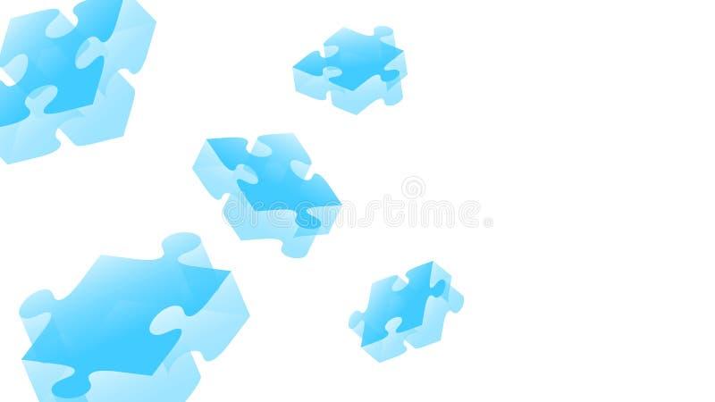 Illustration för färg för pusselstordia 3D isometrisk faktisk blå royaltyfri illustrationer