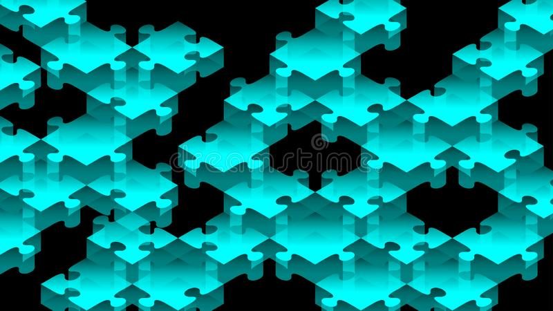 Illustration för färg för pusselstordia 3D isometrisk faktisk blå vektor illustrationer