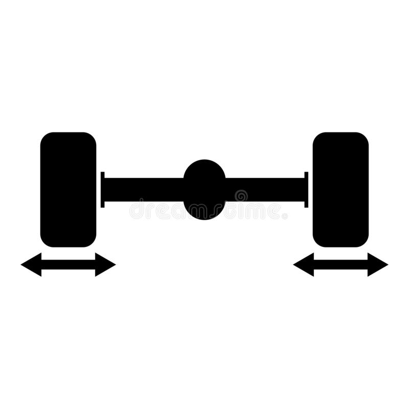 Illustration för färg för svart för symbol för stabilisator för hjul för dator för knipabilhjul royaltyfri illustrationer