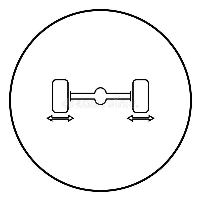 Illustration för färg för svart för symbol för stabilisator för hjul för dator för knipabilhjul i cirkelrunda vektor illustrationer