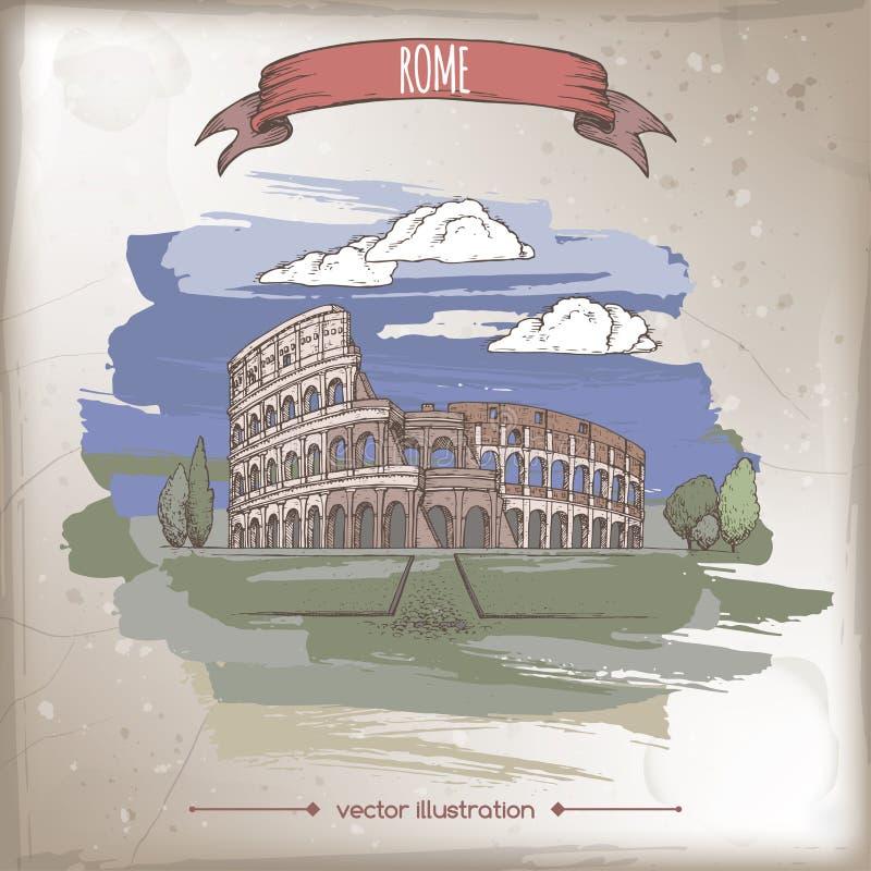 Illustration för färgtappninglopp med den Colosseum aka coliseumen i Rome, Italien stock illustrationer