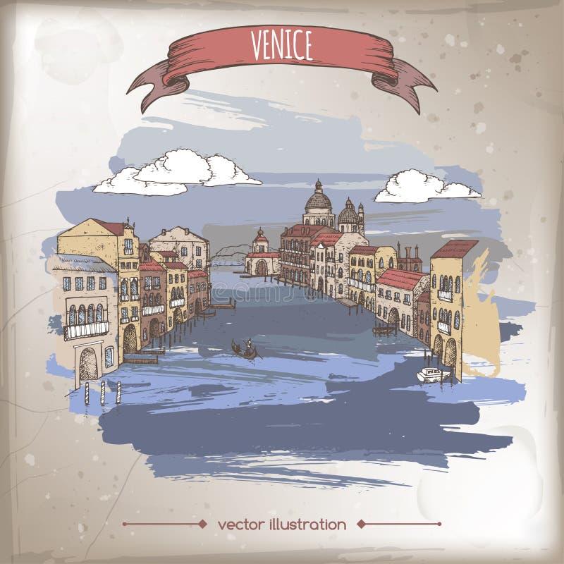 Illustration för färgtappninglopp med Grand Canal i Venedig, Italien vektor illustrationer