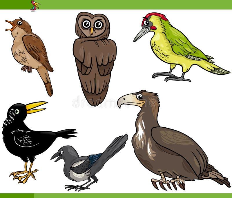 Illustration för fågeltecknad filmuppsättning vektor illustrationer