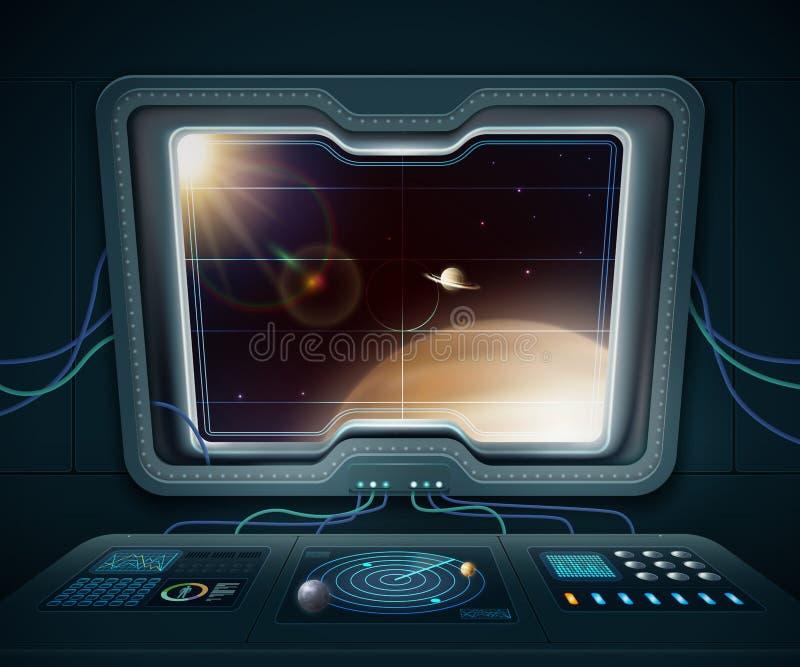 Illustration för fönster för utrymmeskepp vektor illustrationer