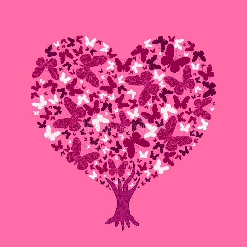 Illustration för förälskelseträd Valentinträd från fjärilar royaltyfri illustrationer