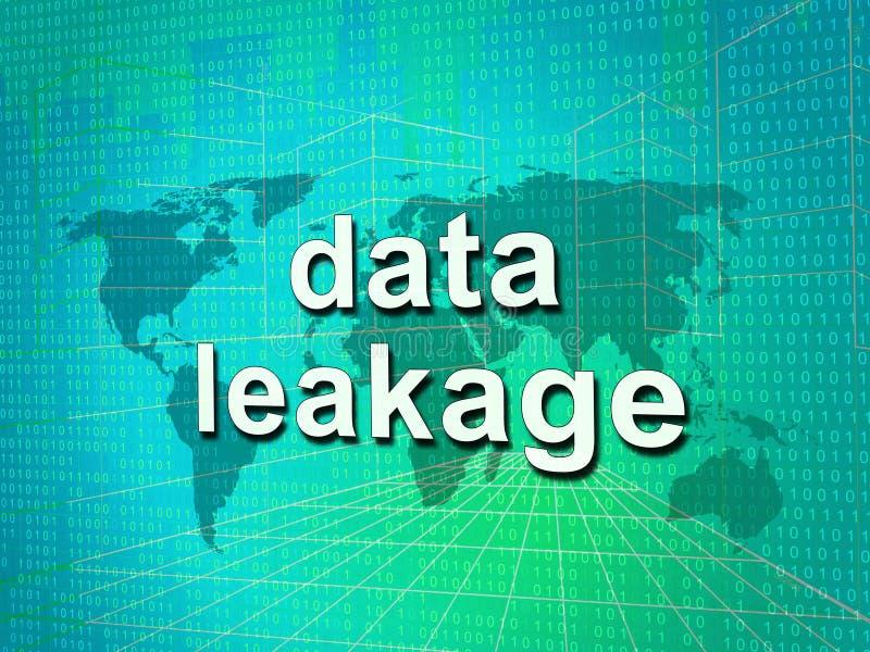 Illustration för förlust 3d för flöde för information om dataläckage stock illustrationer