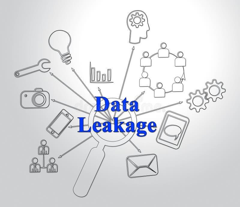 Illustration för förlust för flöde för information om dataläckage 2d stock illustrationer
