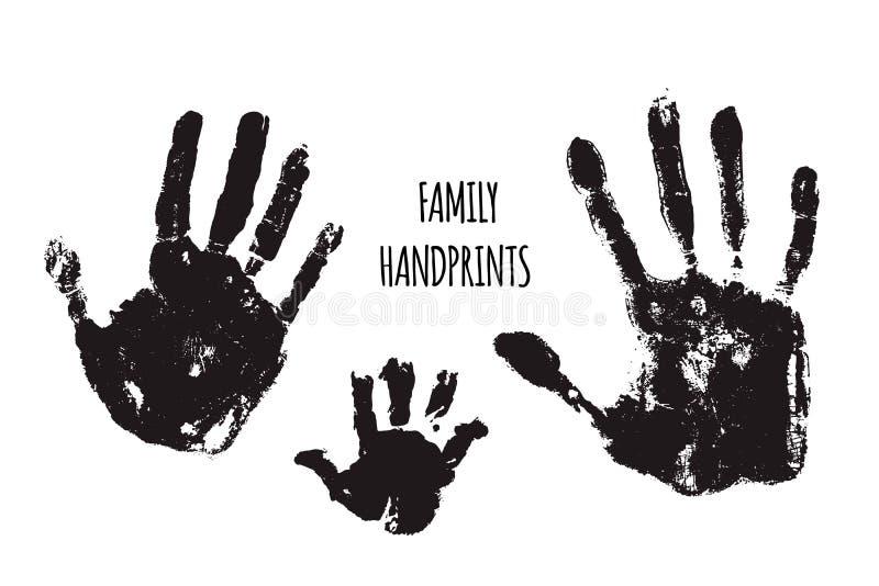 Illustration för familjhandprintsvektor stock illustrationer
