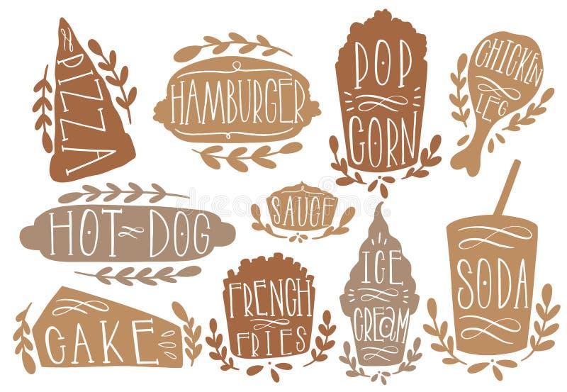 Illustration för Fastfooduppsättningvektor Forma textpizza, hamburgaren, hotdogen, popcorn, korven, frie, icecream, sodavatten At royaltyfri illustrationer