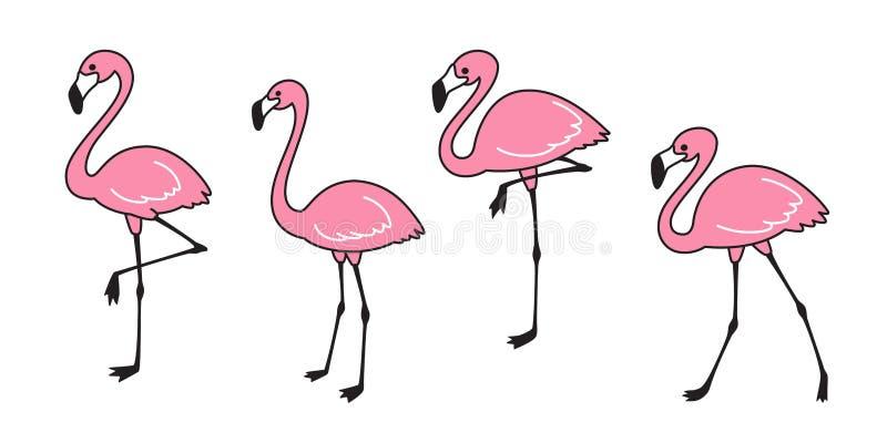 Illustration för faunor för gullig för flamingo för flamingovektoruppsättning för samling natur för flamingo djur exotisk lös royaltyfri illustrationer