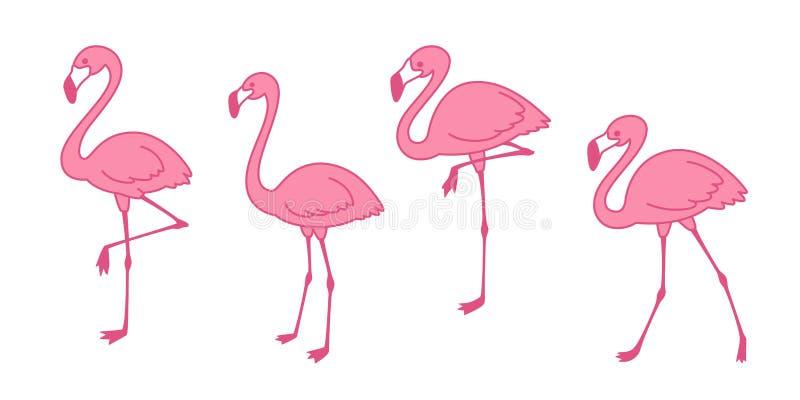 Illustration för faunor för rosa för flamingotecknad filmvektor för uppsättning gullig för flamingo för samling för flamingo natu royaltyfri illustrationer