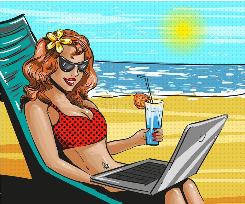 Illustration för ferie för strand för konst för vektortappningpop stock illustrationer