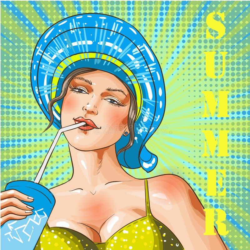 Illustration för ferie för strand för sommar för konst för vektortappningpop royaltyfri illustrationer