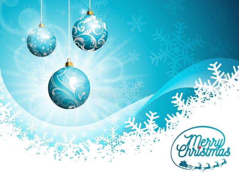 Illustration för ferier för glad jul för vektor och för lyckligt nytt år med typografisk design och skinande glass bollar på blå  vektor illustrationer