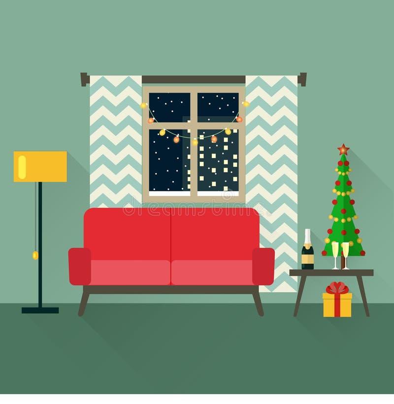 Illustration för ferievektorbegrepp i plan stil Inre jul för vardagsrumsofa för vinkelformig matställe inre vagn stock illustrationer