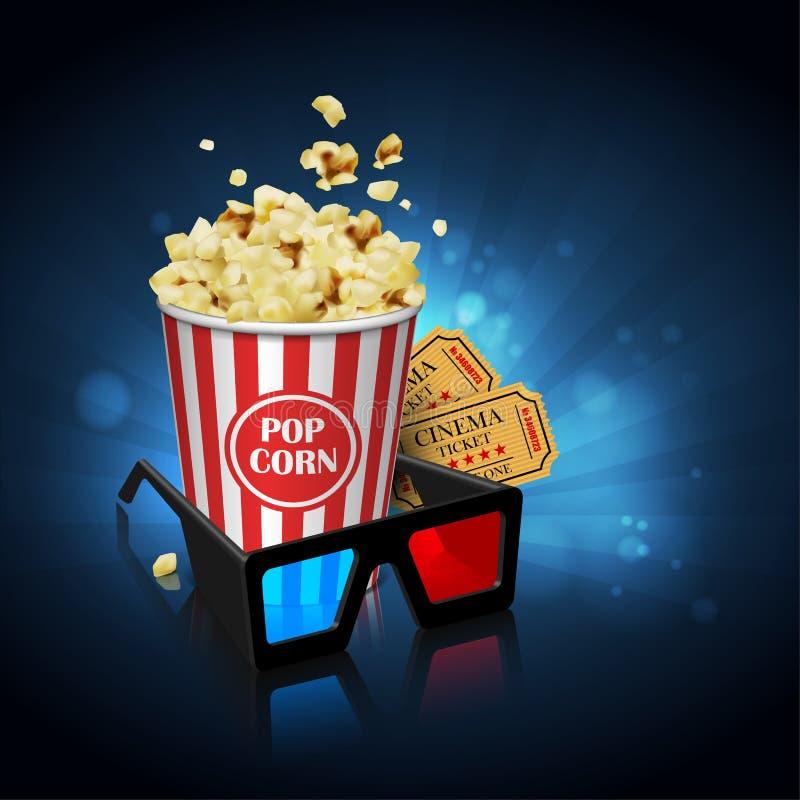 Illustration för filmbranschen Exponeringsglas, popcorn och biljetter vektor illustrationer