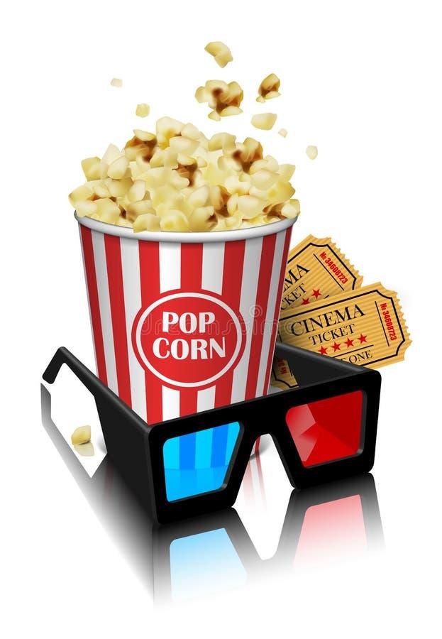 Illustration för filmbranschen Exponeringsglas, popcorn och biljetter royaltyfri illustrationer