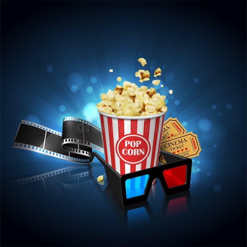 Illustration för filmbranschen Film, popcorn och biljetter H vektor illustrationer