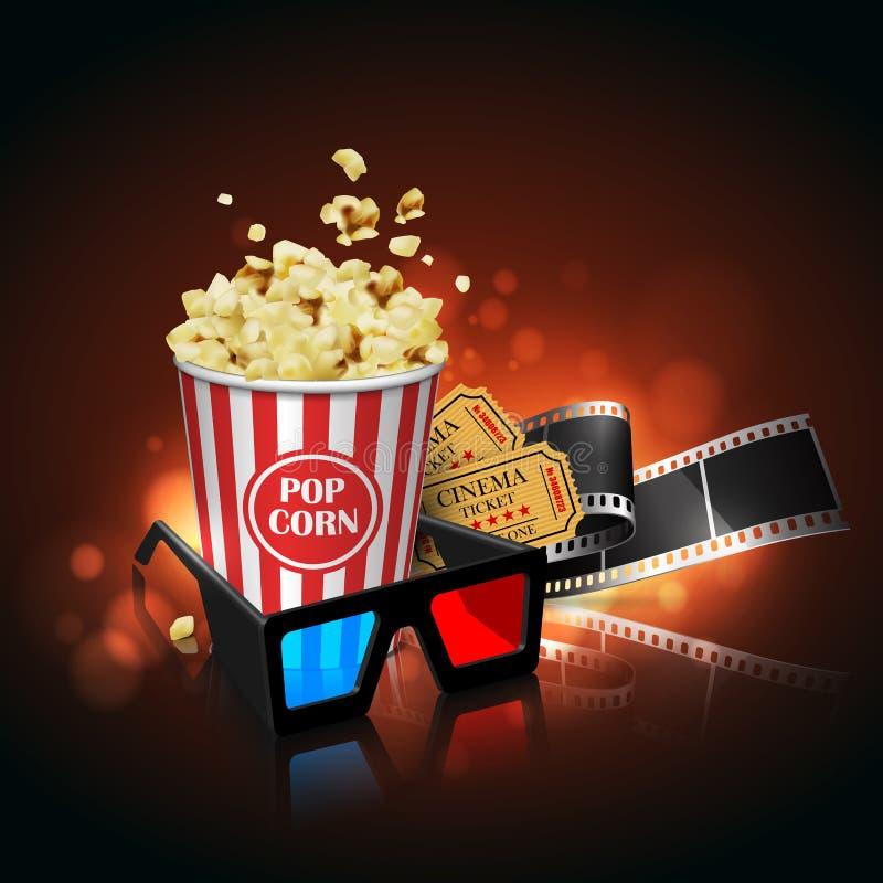 Illustration för filmbranschen Film, popcorn och biljetter H stock illustrationer