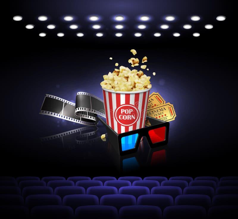 Illustration för filmbranschen Film, popcorn och biljetter på vektor illustrationer