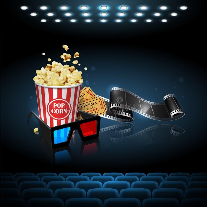 Illustration för filmbranschen Film, popcorn och biljetter på stock illustrationer