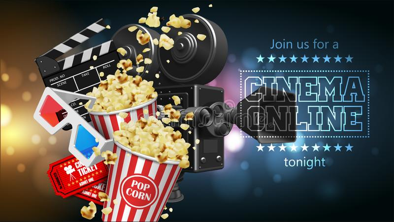 Illustration för filmbranschen Popcorn, kamera, exponeringsglas, biljetter och clapperboard Högt detaljerad vektor för illustrati vektor illustrationer