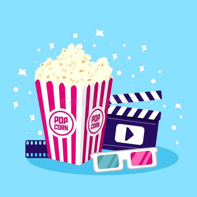 Illustration för filmsymbolsvektor Objekt för bio och film vektor illustrationer