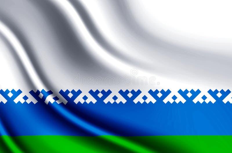 Illustration för flagga Nenets för autonomt område realistisk royaltyfri illustrationer