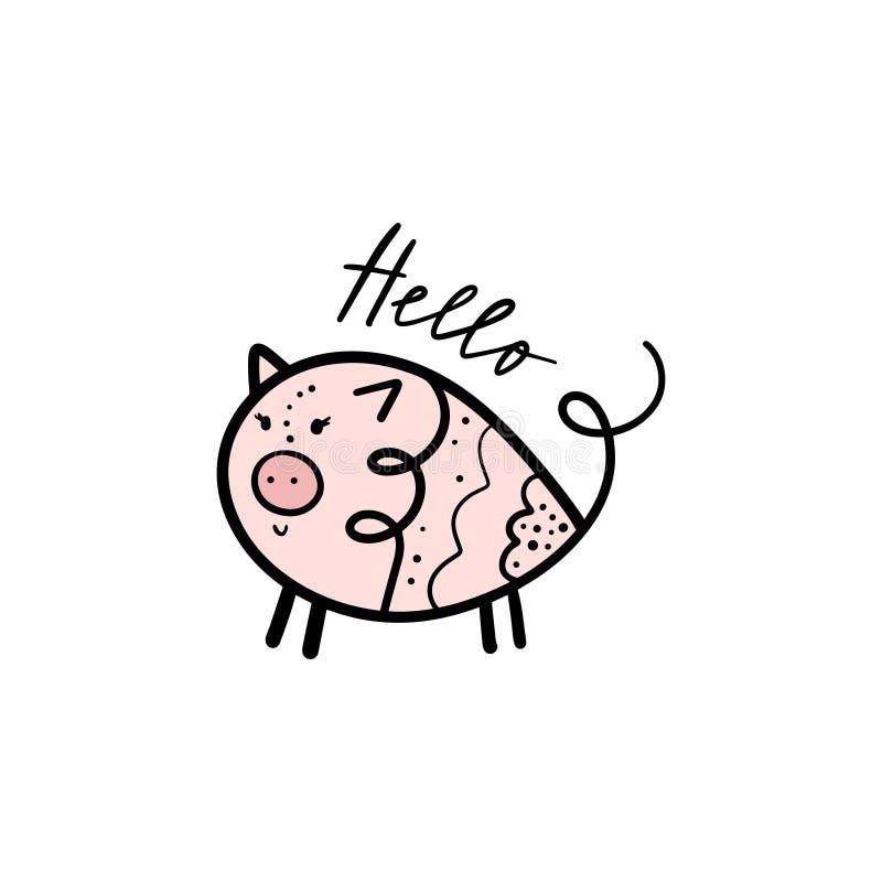 Illustration för flicka för svin för vektorhand utdragen rolig gullig stock illustrationer