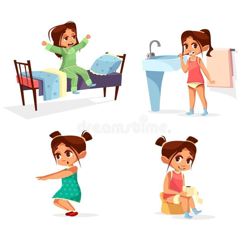 Illustration för flickaungemorgon av daglig rutinmässig aktivitet för tecknad filmbarn som vaknar upp, tvättar sig och fysisk övn stock illustrationer