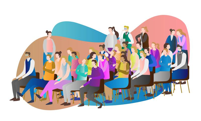 Illustration för folkmassaåhörarevektor Grupp människor som tillsammans sitter, och hållande ögonen på anförande, presentation el stock illustrationer
