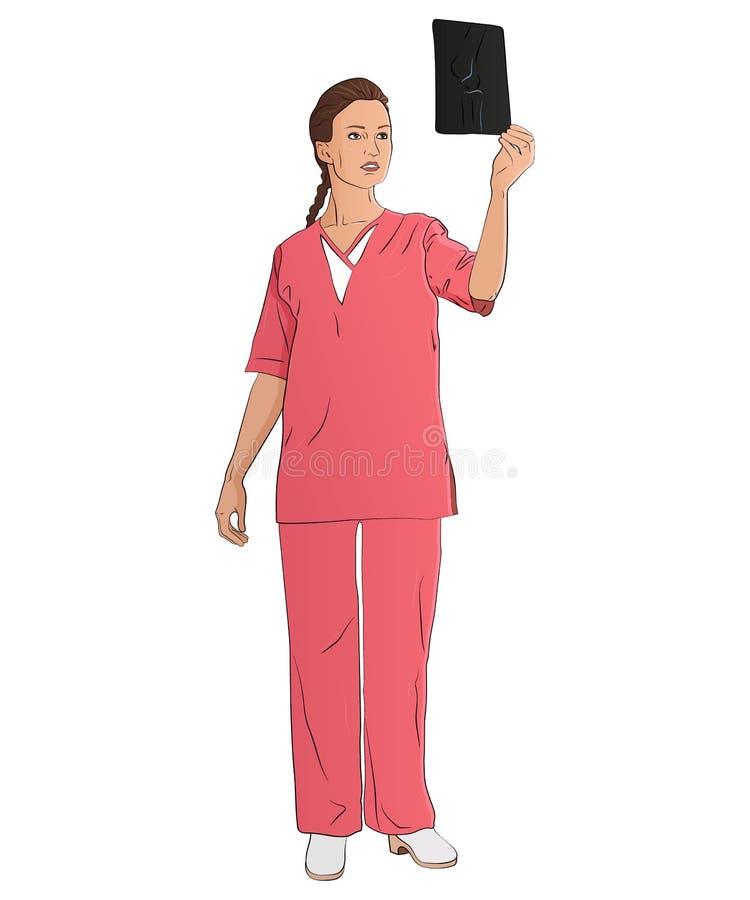 Illustration för folkyrkevektor En arbetare i fältet av medicin vektor illustrationer