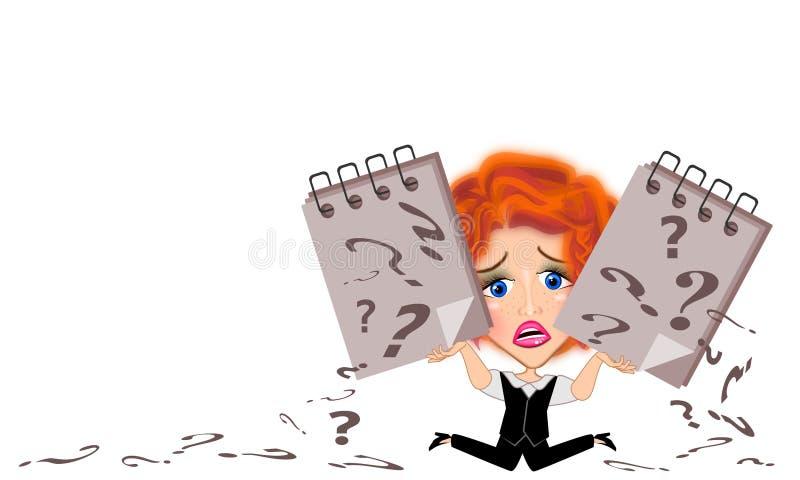 Illustration för frågefläck och för affärskvinna vektor illustrationer