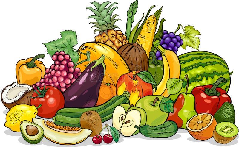 Illustration för frukt- och grönsakgrupptecknad film royaltyfri illustrationer