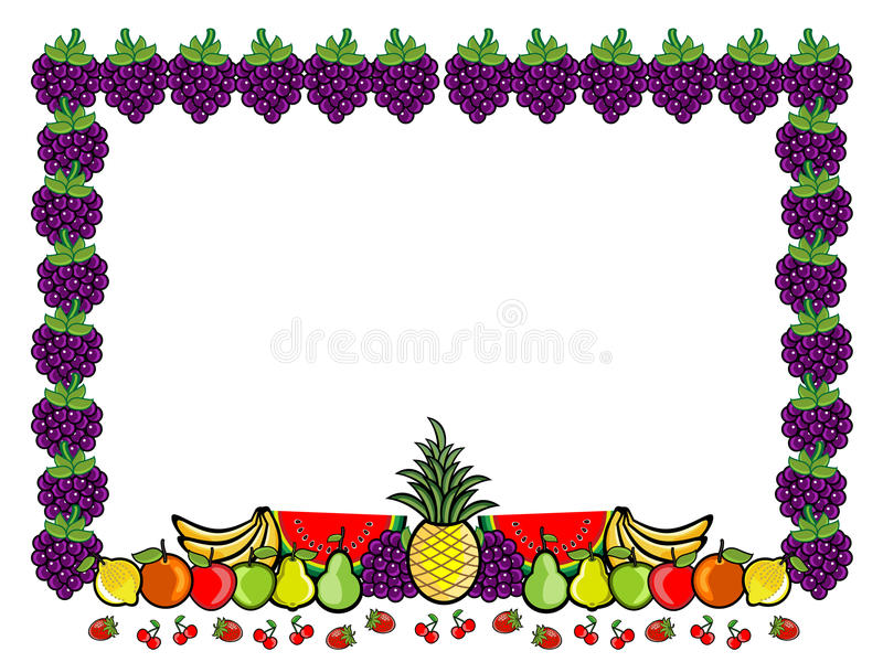 Illustration för fruktgrupptecknad film royaltyfri illustrationer