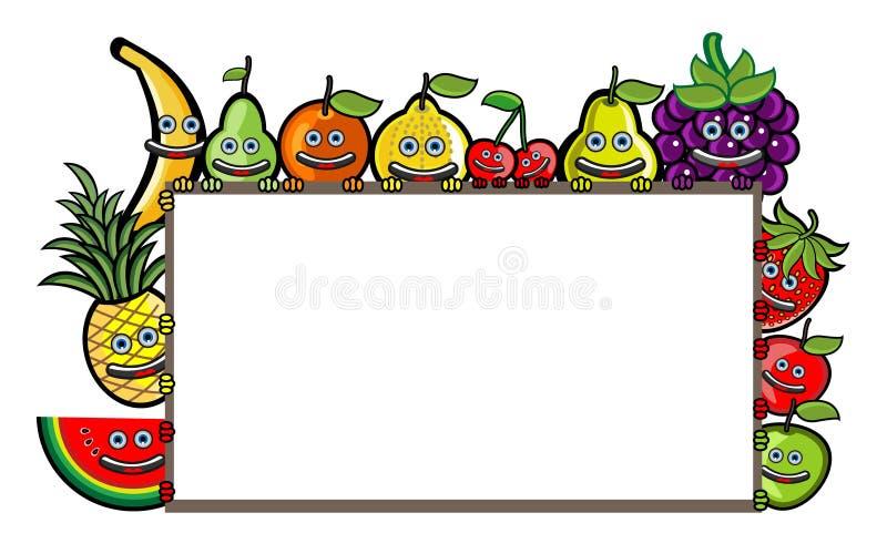 Illustration för fruktgrupptecknad film stock illustrationer