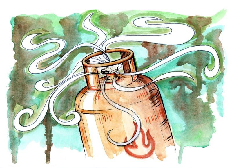 Illustration för gasflaska royaltyfri illustrationer