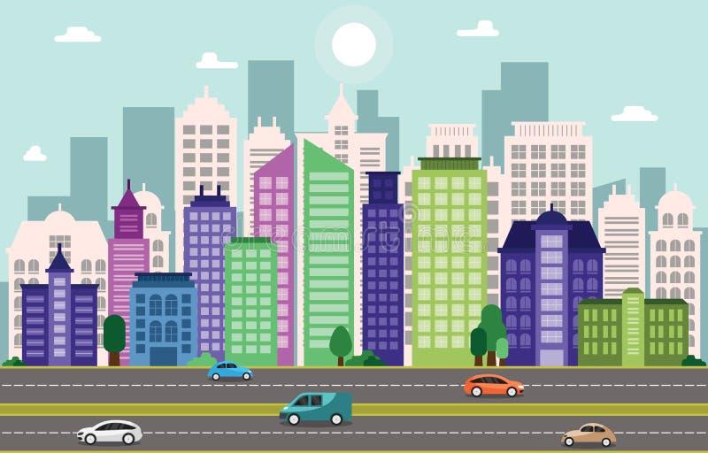 Illustration för gata för trafik för gränsmärke för stadsCityscapehorisont byggande vektor illustrationer
