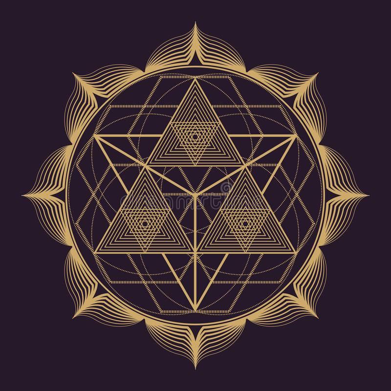 illustration för geometri för vektormandala sakral royaltyfri illustrationer