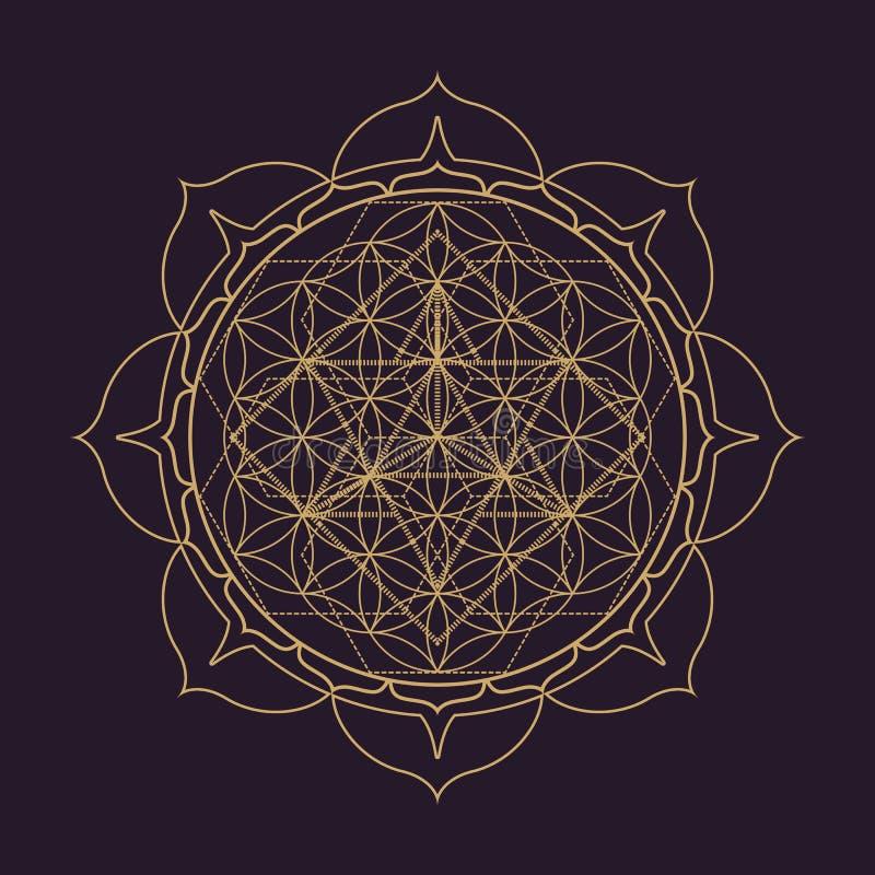 illustration för geometri för vektormandala sakral stock illustrationer