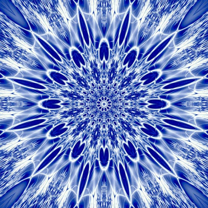 Illustration för geometri för snöflingamandala sakral i blå is royaltyfri illustrationer