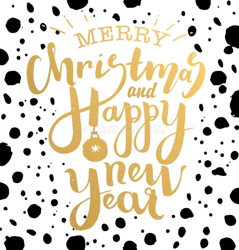 Illustration för glad jul och för lyckligt nytt år royaltyfri bild