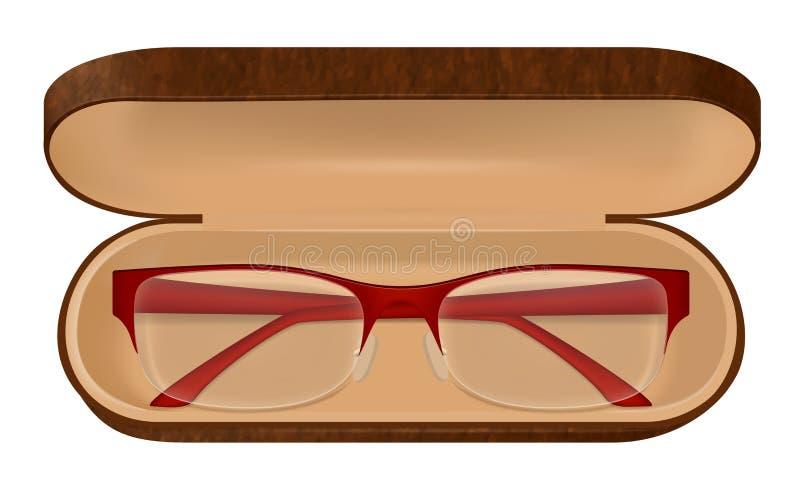 Illustration för glasögon i fall att royaltyfri illustrationer