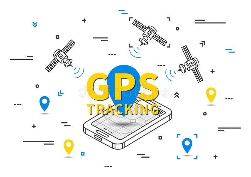 Illustration för GPS spårningvektor royaltyfri illustrationer