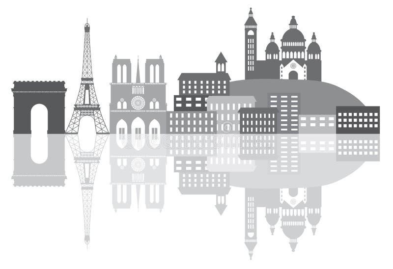 Illustration för gråton för Paris Frankrike stadshorisont vektor illustrationer