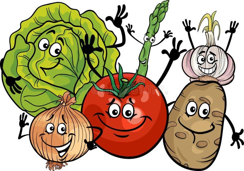 Illustration för grönsakgrupptecknad film royaltyfri illustrationer