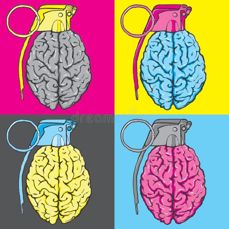 Illustration för granathjärnvektor royaltyfri illustrationer