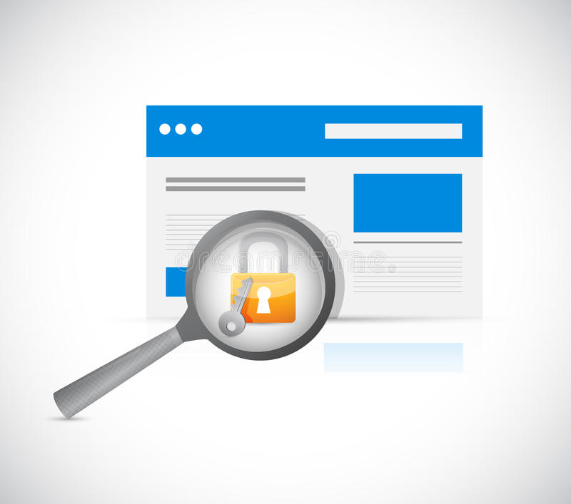 Illustration för granskning för Websitesäkerhetsskydd vektor illustrationer